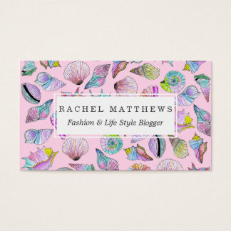 Summer Seashells in Girly Painted Watercolor Paint Business Card