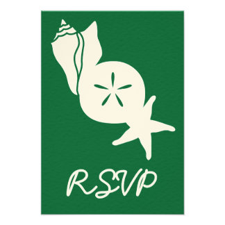 Summer Seashells in Green RSVP Card