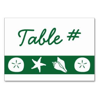 Summer Seashells in Green Table Card