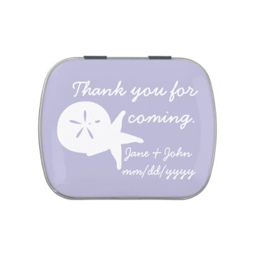 Beach Themed Summer Seashells in Lavender Candy Favor Tin Jelly Belly Candy Tins