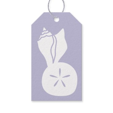 Beach Themed Summer Seashells in Lavender Gift Tag