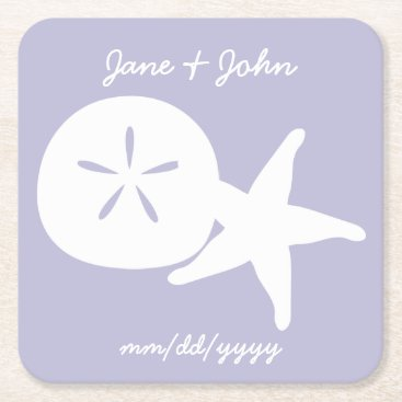 Beach Themed Summer Seashells in Lavender Paper Coaster