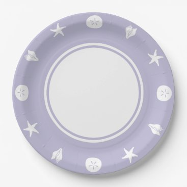Beach Themed Summer Seashells in Lavender Paper Plate