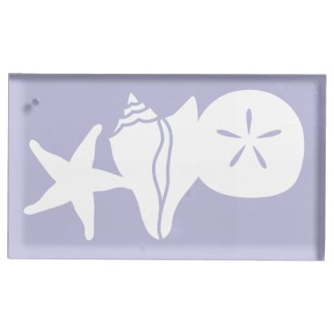 Beach Themed Summer Seashells in Lavender Table Card Stand
