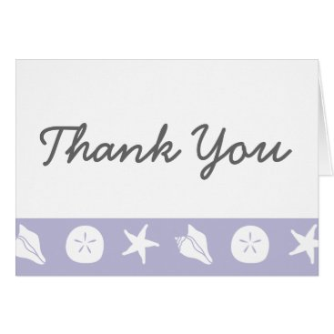 Beach Themed Summer Seashells in Lavender Thank You Card