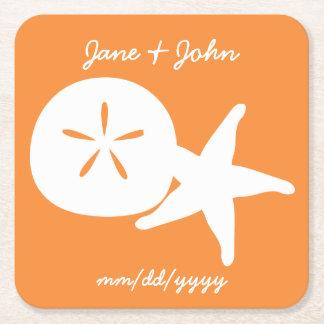 Summer Seashells in Orange Paper Coaster