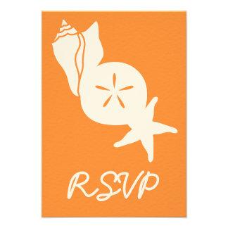Summer Seashells in Orange RSVP Card