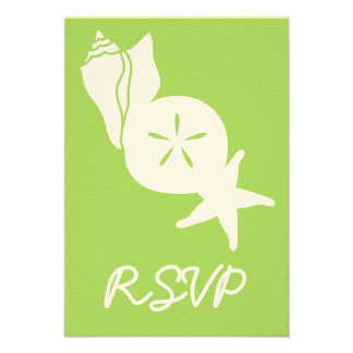 Summer Seashells in Peridot RSVP Card