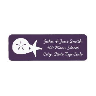 Summer Seashells in Purple Return Address Label