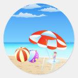 Summer Seaside Classic Round Sticker