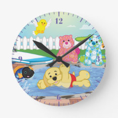 Summer Sensation Pool Round Clock at Zazzle