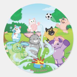 Summer Sensation Sprinkler Classic Round Sticker
