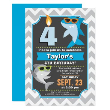 Beach Themed Summer Shark Birthday Invitation