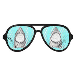 Summer Shark Hand Drawn and Painted on Teal Aviator Sunglasses