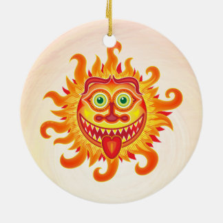 Summer shiny sun grinning and sticking tongue out ceramic ornament