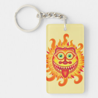 Summer shiny sun grinning and sticking tongue out keychain