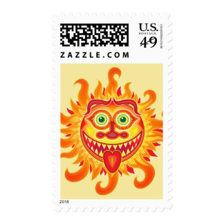 Summer shiny sun grinning and sticking tongue out postage
