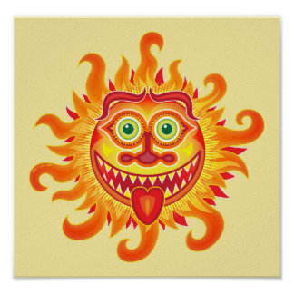 Summer shiny sun grinning and sticking tongue out poster