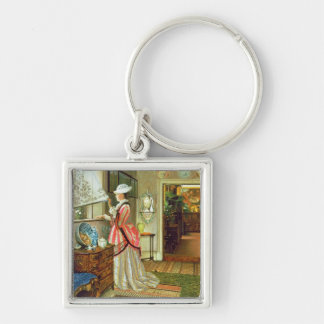 Summer Silver-Colored Square Keychain
