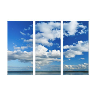 Summer Sky Full of White Clouds Canvas Triptych