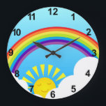 """Summer sky large clock<br><div class=""""desc"""">Fun summer sky illustration with rainbow,  clouds and sun</div>"""