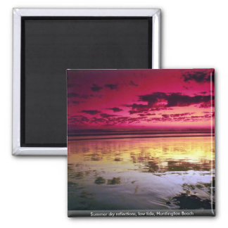 Summer sky reflections, low tide, Huntington Beach 2 Inch Square Magnet