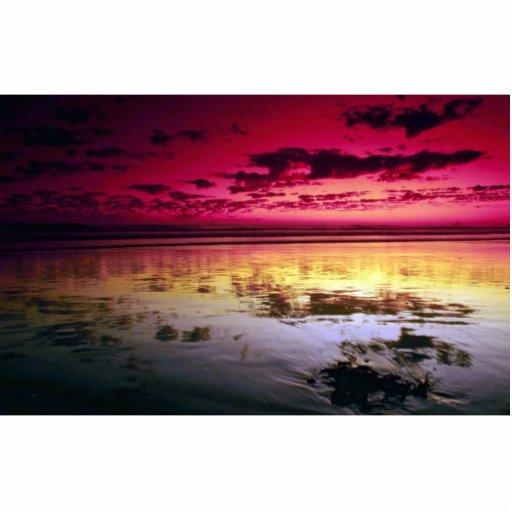 Summer sky reflections, low tide, Huntington Beach Cutout