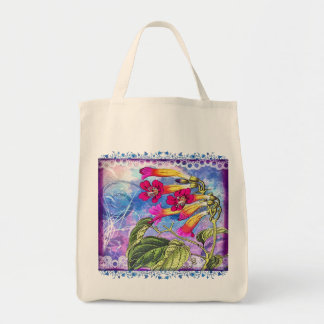 Summer Sky with Pink Flowers Grocery Tote Bag