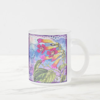 Summer Sky with Pink Flowers Frosted Glass Coffee Mug