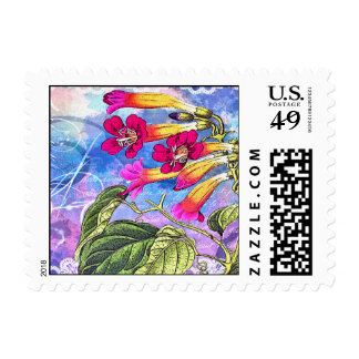 Summer Sky with Pink Flowers Postage