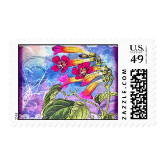 Summer Sky with Pink Flowers Postage Stamps