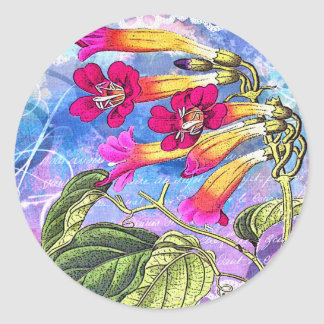 Summer Sky with Pink Flowers Classic Round Sticker