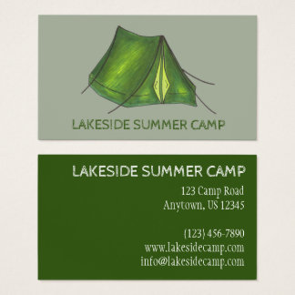 Summer Sleepaway Camp Camping Campground Tent Business Card