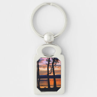 Summer Solace Silver-Colored Rectangular Metal Keychain