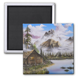 Summer Solitude Oil painting by David Paul 2 Inch Square Magnet
