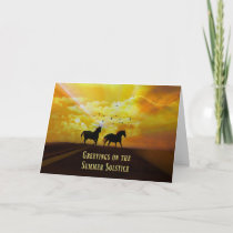 Summer Solstice Blessings Card with Horses