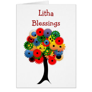 Summer Solstice Blessings with colorful tree Litha Greeting Card