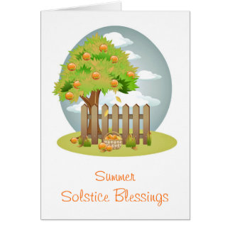 Summer Solstice blessings with orange fruit tree Card
