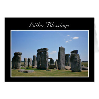 Summer Solstice Blessings with stonehenge Litha Greeting Card