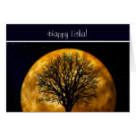 Summer Solstice Blessings with tree and moon Greeting Card