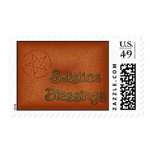 Summer Solstice Pagan Pentagram Stamp