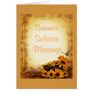 Summer Solstice with sunflowers and butterflies Card