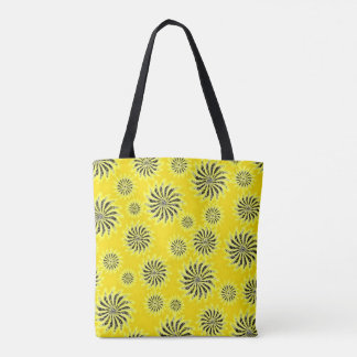 Summer Spinning stars energetic pattern yellow Tote Bag