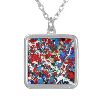 SUMMER SPLASH! (an abstract art design) ~ Silver Plated Necklace