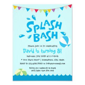 Summer Splash Pool Party Boys Birthday 4.25x5.5 Paper Invitation Card
