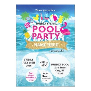Beach Themed Summer Splash Pool Party Invitation 5 x 7