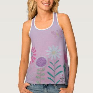 Summer/Spring Purple Floral Racerback Tank Top