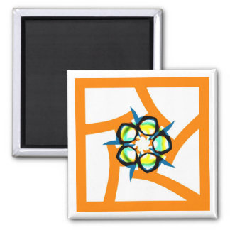 Summer Star - Orange 2 Inch Square Magnet