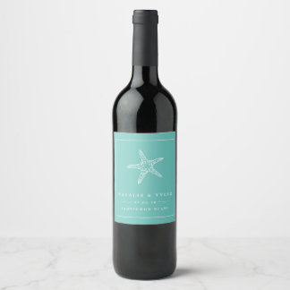 Summer Starfish Wedding Favor Wine Labels