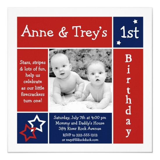 Summer Stars Twin Photo Birthday Invitation